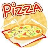 Icono con la pizza Fotos de archivo
