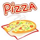 Icono con la pizza en un fondo blanco Foto de archivo libre de regalías