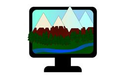 Icono con las montañas, el bosque conífero y la corriente libre illustration
