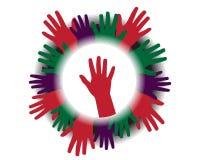 Icono con las siluetas de manos stock de ilustración