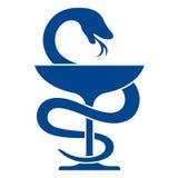 Icono de la farmacia con símbolo del caduceo Foto de archivo libre de regalías
