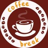 Icono con una taza de café y de habas Foto de archivo libre de regalías
