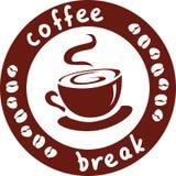 Icono con una taza de café y de una inscripción Imágenes de archivo libres de regalías