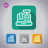 Icono conceptual determinado de la caja registradora de Colorfoul Estilo plano, vector Imagenes de archivo