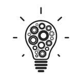 Icono conceptual simple de la bombilla con los engranajes Imágenes de archivo libres de regalías