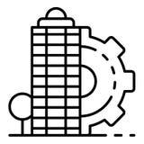 Icono constructivo arquitectónico de la ciudad, estilo del esquema ilustración del vector