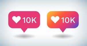 Icono contrario de la notificaci?n El bulbo social de la pendiente de los medios con los seguidores 10K le gusta comentarios El b libre illustration