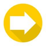 Icono correcto de la flecha con la sombra larga Imagenes de archivo