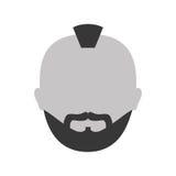 icono criminal de la cara del hombre del grayscale ilustración del vector