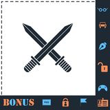 Icono cruzado de las espadas plano ilustración del vector