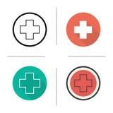 Icono cruzado médico Imagen de archivo