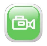 Icono cuadrado verde vidrioso de la cámara de vídeo Imagen de archivo