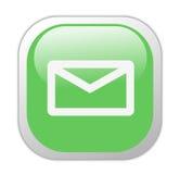 Icono cuadrado verde vidrioso del email Foto de archivo