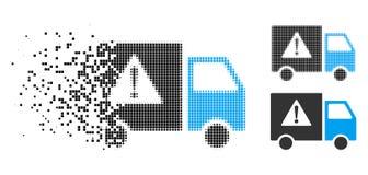 Icono dañado de Dot Halftone Danger Transport Truck ilustración del vector