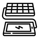 Icono de carga del teléfono del panel solar, estilo del esquema stock de ilustración