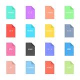 Icono de codificación y programado en las hojas coloreadas Fotos de archivo libres de regalías