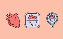 icono de 3 corazones con la lupa libre illustration