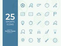 Icono de 25 deportes, símbolo de los deportes Iconos modernos, simples del esquema, del vector del esquema para el sitio web o ap libre illustration