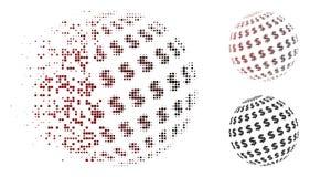 Icono de desaparición de Dot Halftone Dollar Abstract Sphere Ilustración del Vector