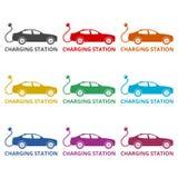 Icono de Elektroauto, iconos del color fijados Imagen de archivo libre de regalías