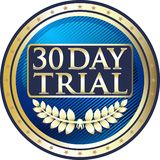 Icono de ensayo de treinta días de la etiqueta del oro Ilustración del Vector