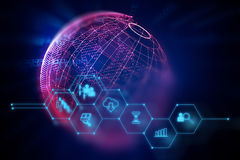 Icono de Fintech en fondo financiero abstracto de la tecnología Imagen de archivo libre de regalías