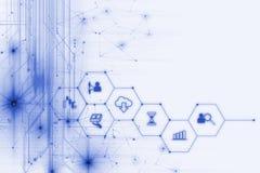 Icono de Fintech en fondo financiero abstracto de la tecnología Imágenes de archivo libres de regalías