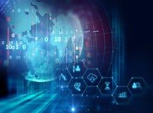 Icono de Fintech en fondo financiero abstracto de la tecnología stock de ilustración