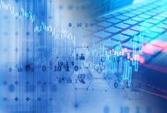 Icono de Fintech en fondo financiero abstracto de la tecnología libre illustration
