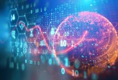 Icono de Fintech en fondo financiero abstracto de la tecnología Imagenes de archivo