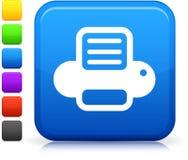 Icono de impresora del ordenador en el botón cuadrado del Internet Foto de archivo libre de regalías