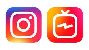 Icono de Instagram e icono de Instagram IGTV ilustración del vector
