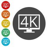 icono de 4K TV, ultra icono de HD 4K Ilustración del Vector