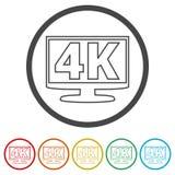 icono de 4K TV, ultra icono de HD 4K, 6 colores incluidos Foto de archivo libre de regalías