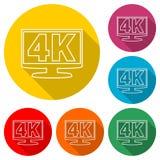 icono de 4K TV, ultra icono de HD 4K, icono del color con la sombra larga Stock de ilustración