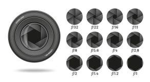 Icono de la abertura fijado con números del valor Fila del diafragma de la lente del obturador de cámara libre illustration