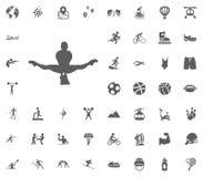 Icono de la acrobacia Iconos determinados del vector del ejemplo del deporte Sistema de 48 iconos del deporte Fotografía de archivo