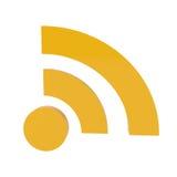 Icono de la alimentación de RSS aislado en blanco Imagenes de archivo