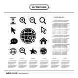 Icono de la ampliación para buscar el icono del gráfico de la información del web Imágenes de archivo libres de regalías