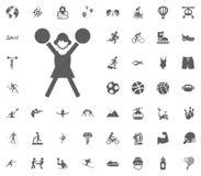 Icono de la animadora Iconos determinados del vector del ejemplo del deporte Sistema de 48 iconos del deporte Imagen de archivo