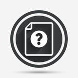 Icono de la ayuda del documento del fichero Pregunta Mark Symbol Foto de archivo libre de regalías
