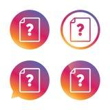 Icono de la ayuda del documento del fichero Pregunta Mark Symbol Imágenes de archivo libres de regalías