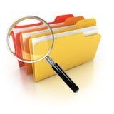 Icono de la búsqueda 3d de las carpetas Foto de archivo libre de regalías