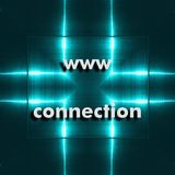 Icono de la búsqueda del web de WWW En el fondo tenemos placa de aluminio reflectora azul Imagen de archivo