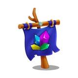 Icono de la bandera vertical con la asta de bandera de madera y de los cristales para el juego stock de ilustración