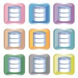Icono de la base de datos fijado - 9type ilustración del vector