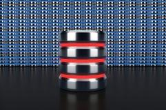 Icono de la base de datos en fondo de la fila de la base de datos Fotografía de archivo libre de regalías