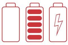 Icono de la batería en el fondo blanco Foto de archivo