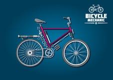 Icono de la bicicleta con las piezas y los accesorios mecánicos Imagenes de archivo