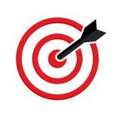 Icono de la blanco Objetivo rojo, flecha negra Vector ilustración del vector